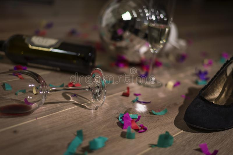 Hangover after the party. The mess left behind after too much partying stock photos