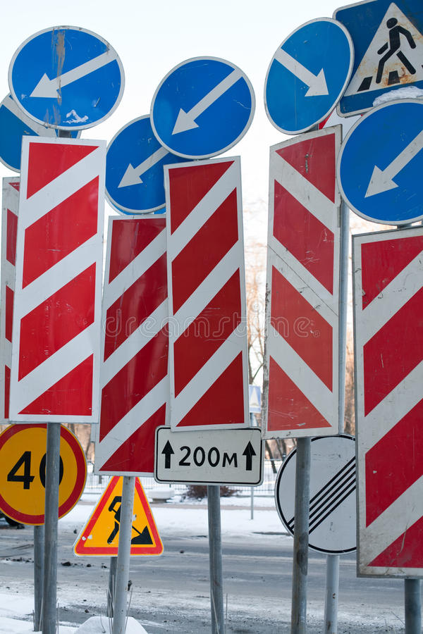 Mess of traffic signs stock images