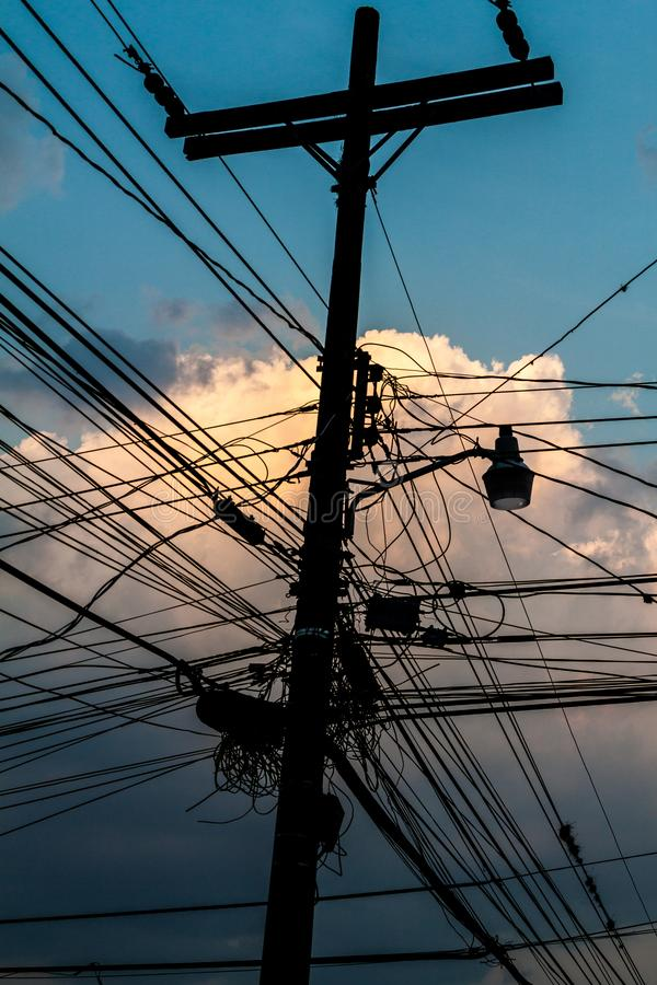 Mess of wires in Gracias town, Hondur stock photo