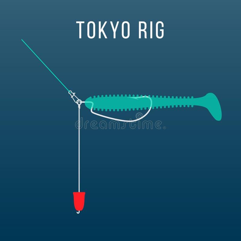 Messa a punto dell'attrezzatura di pesca dell'impianto di perforazione di Tokyo illustrazione di stock