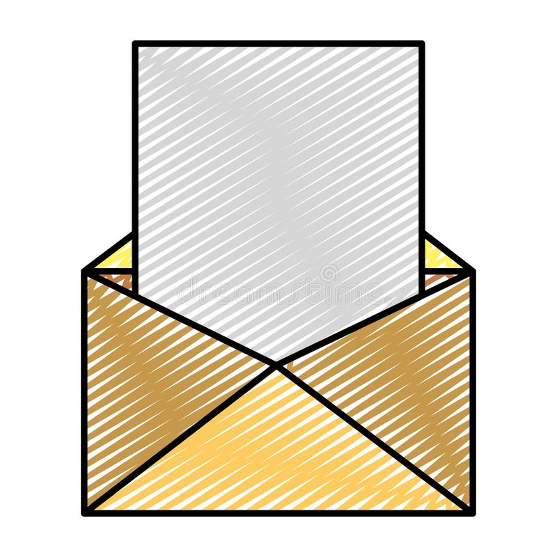 Message électronique de griffonnage avec l'information des textes de document illustration de vecteur