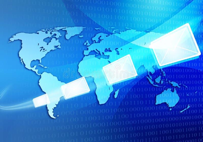 Message électronique se déplaçant par l'intermédiaire de l'Internet images stock