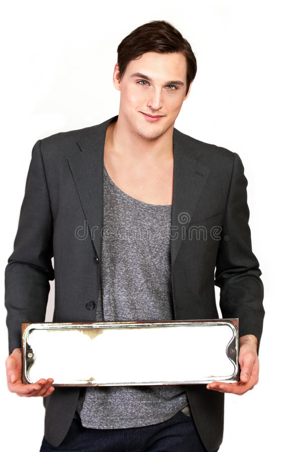 Message board man royalty free stock image