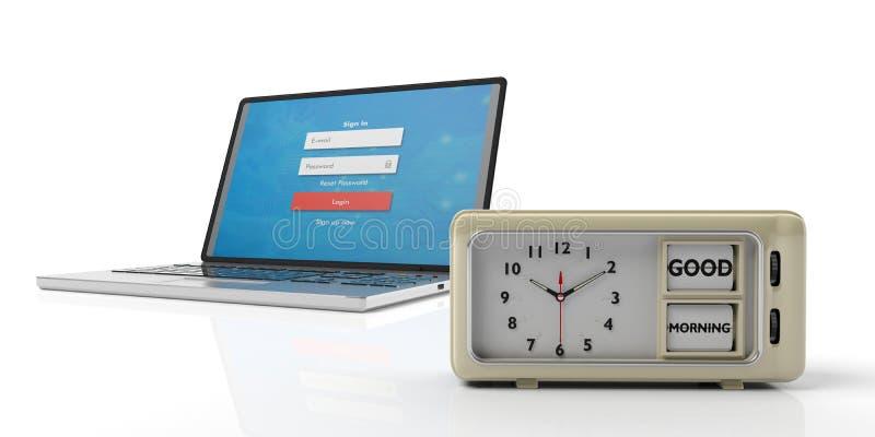 Message bonjour sur le rétro réveil et l'ordinateur portable, fond blanc illustration 3D illustration stock