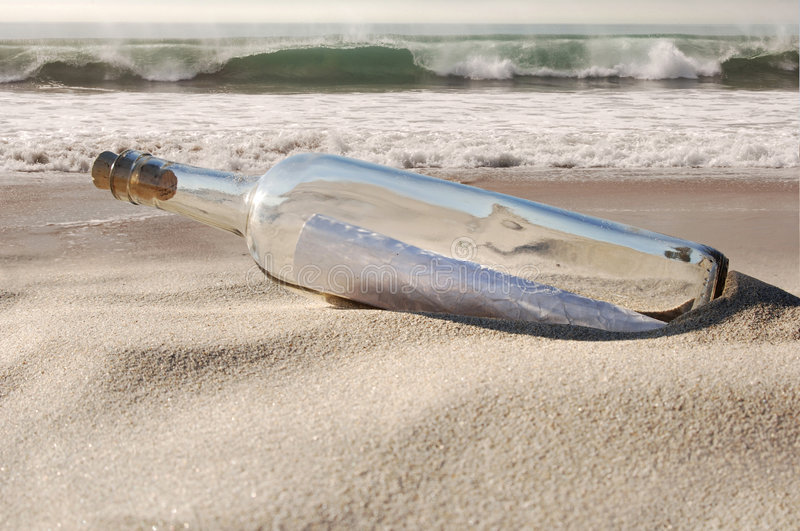 Download Message in a bottle stock photo. Image of sand, shipwrecked - 1753494