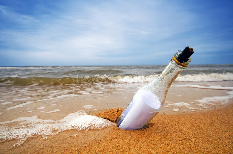 Download Message in the bottle stock image. Image of beach, collection - 18318523