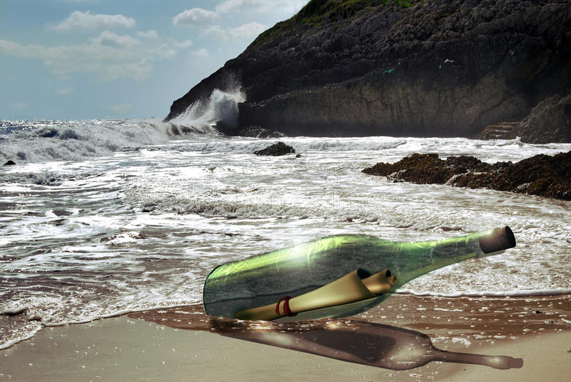 Message in a Bottle. On the beach royalty free illustration
