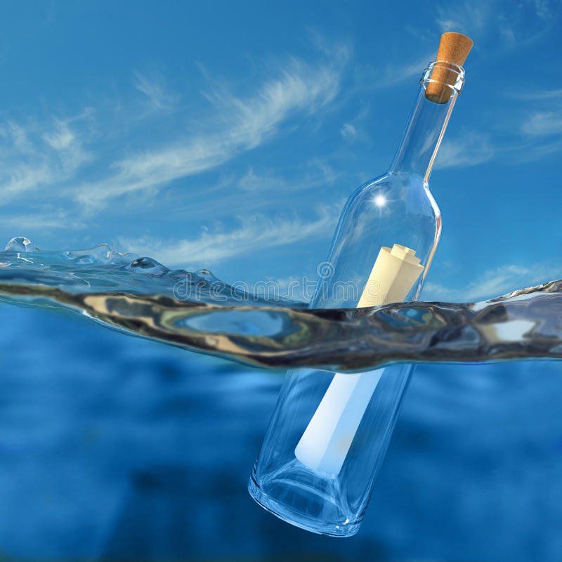 Message in a bottle. Very high resolution 3d rendering of a bottle with a message inside floating in the water