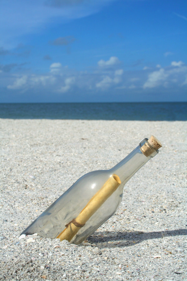 Message in a bottle stock photography