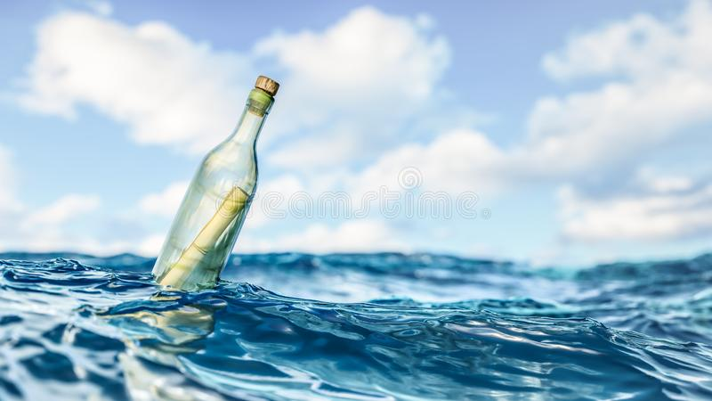 Message in a bottle background stock illustration