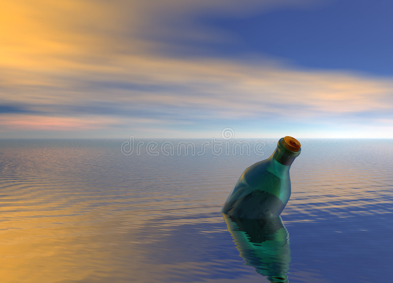 Message in a Bottle Floating on Ocean. Message in a Green Bottle Floating on Ocean stock illustration
