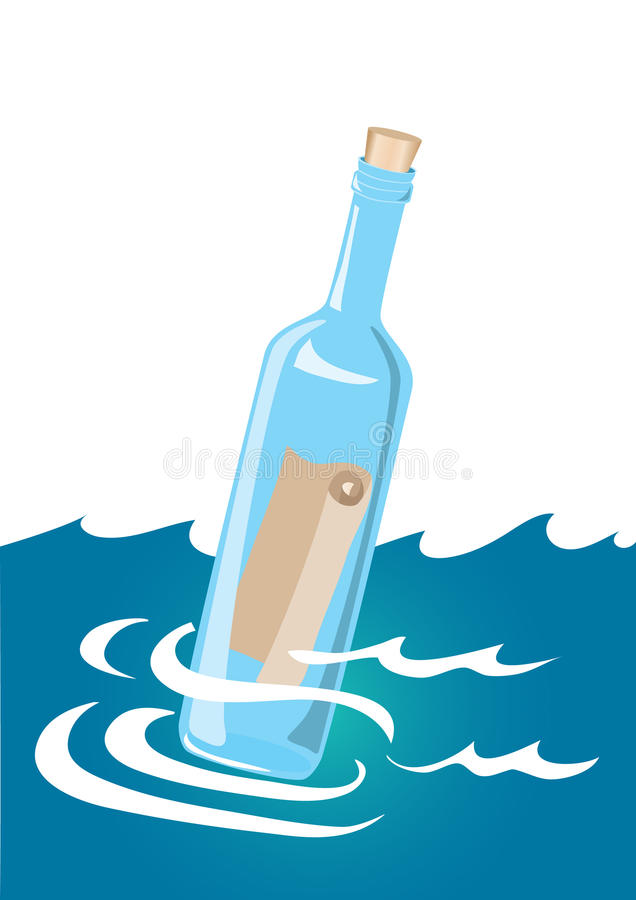 Message in a bottle royalty free illustration