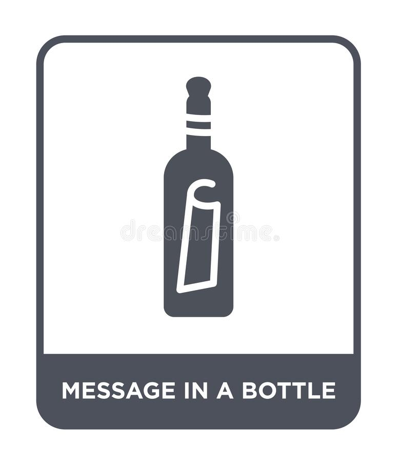 Message in a bottle icon in trendy design style. message in a bottle icon isolated on white background. message in a bottle vector. Icon simple and modern flat royalty free illustration