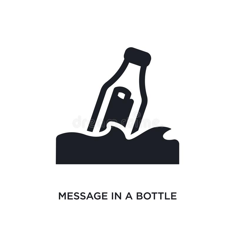 Message in a bottle isolated icon. simple element illustration from nautical concept icons. message in a bottle editable logo sign. Symbol design on white vector illustration