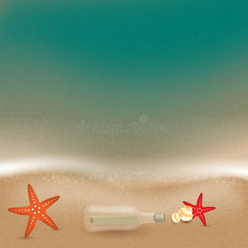 Message in a bottle in the sand on the beach. Vector royalty free illustration