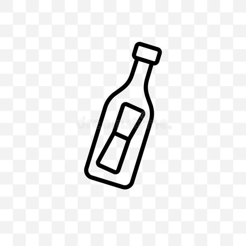 Message In a Bottle vector linear icon isolated on transparent background, Message In a Bottle transparency concept can be used fo royalty free illustration