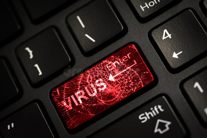 Message on broken red enter key of keyboard. Computer virus attack. Copy space stock photo