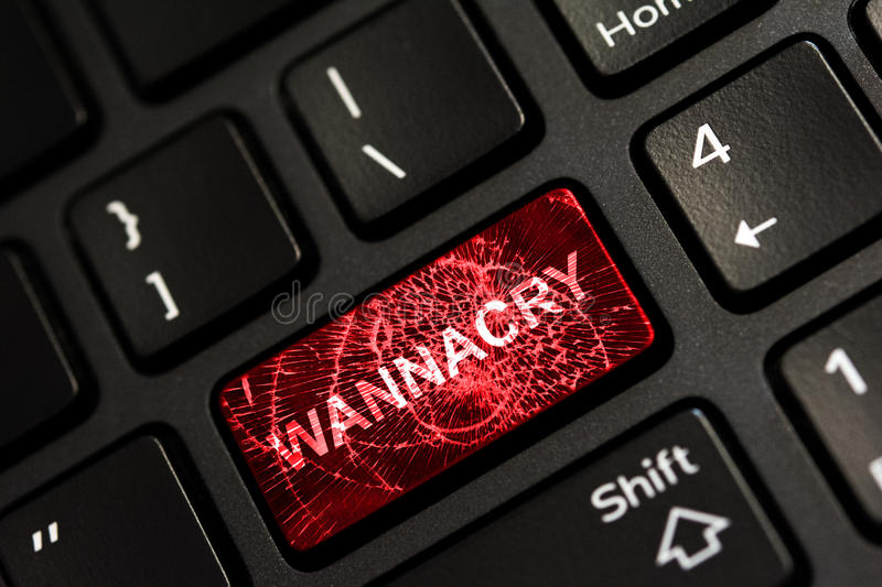 Message on broken red enter key of keyboard. Computer wannacry virus attack. Copy space royalty free stock photos