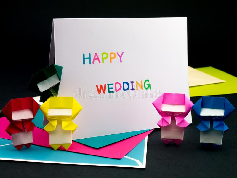 Message Card for Your Family and Friends; Happy Wedding.  stock photography