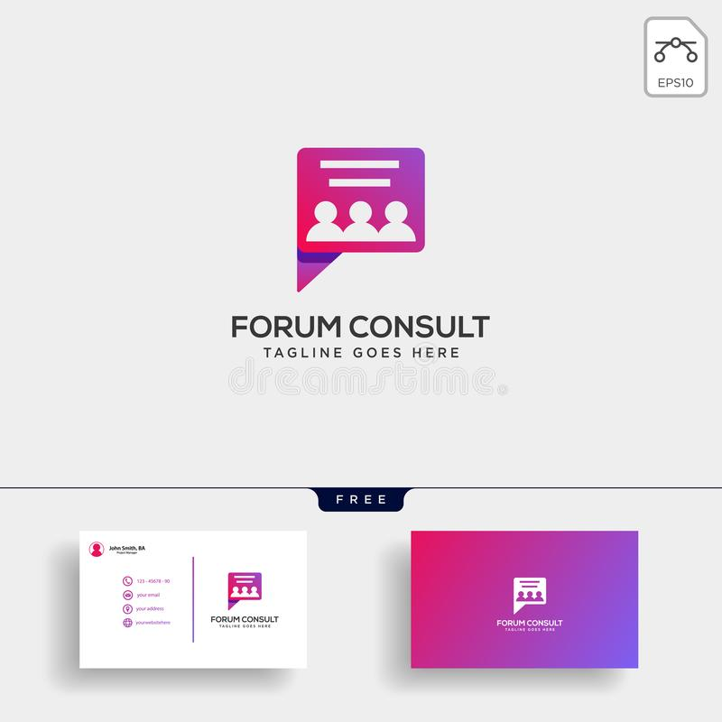 Message Communication, consulting logo template with business card vector illustration