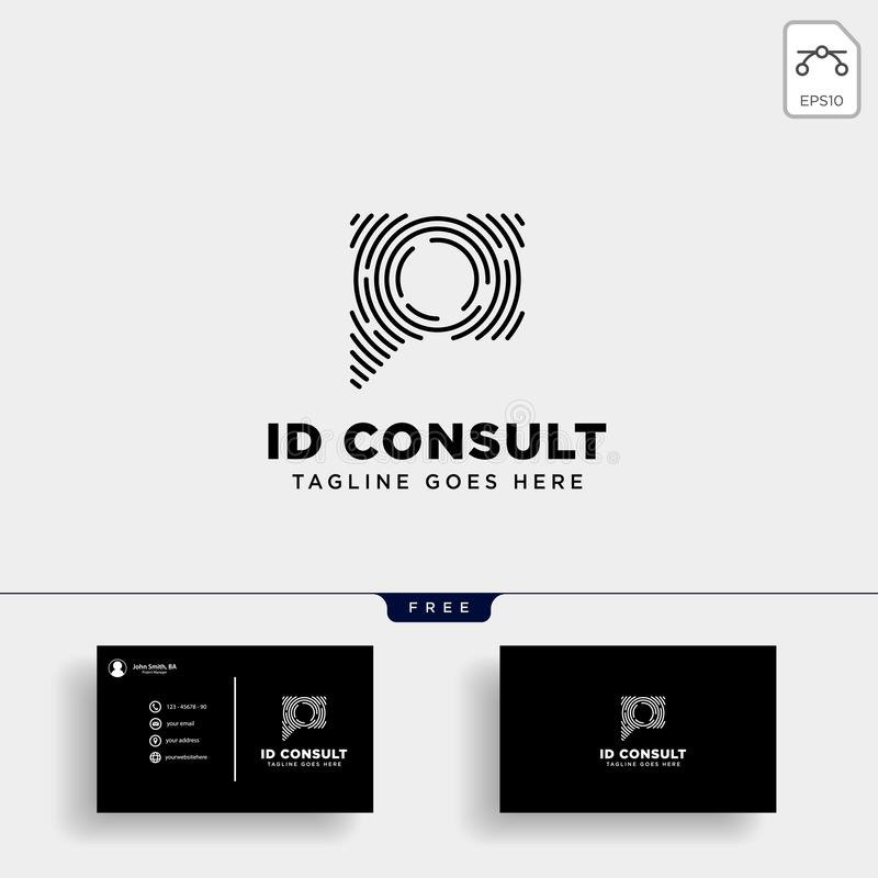 Message Communication, consulting logo template with business card stock illustration