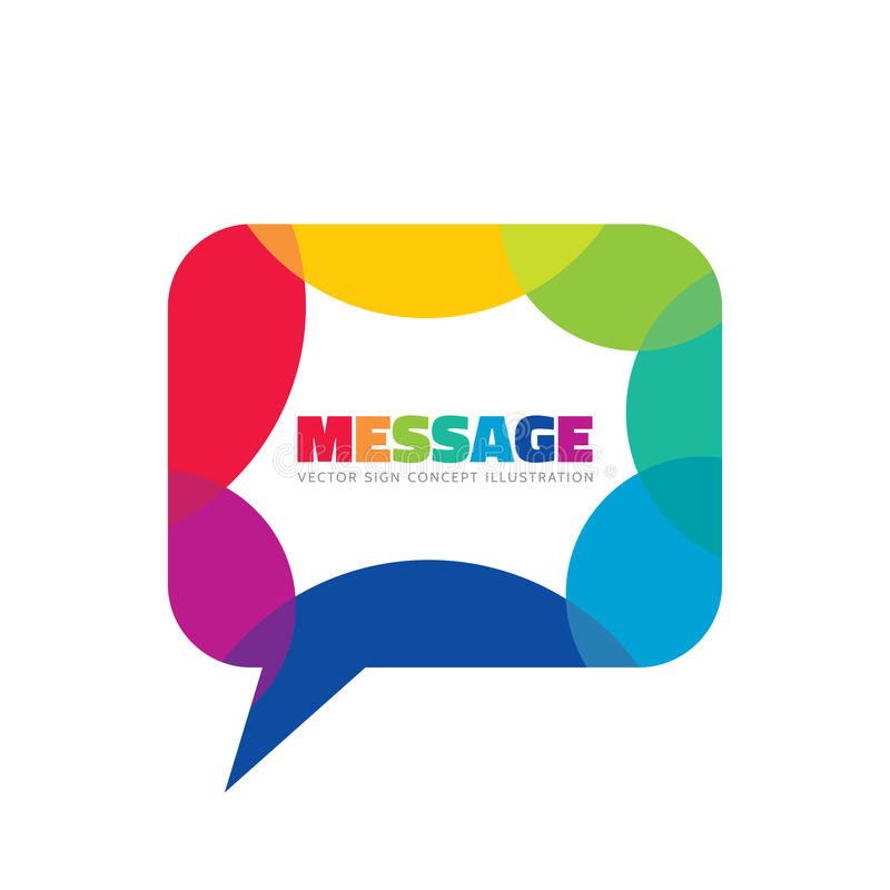 Message - creative vector background illustration. Communication colorful logo template. Speech bubble abstract sign. Social media royalty free illustration