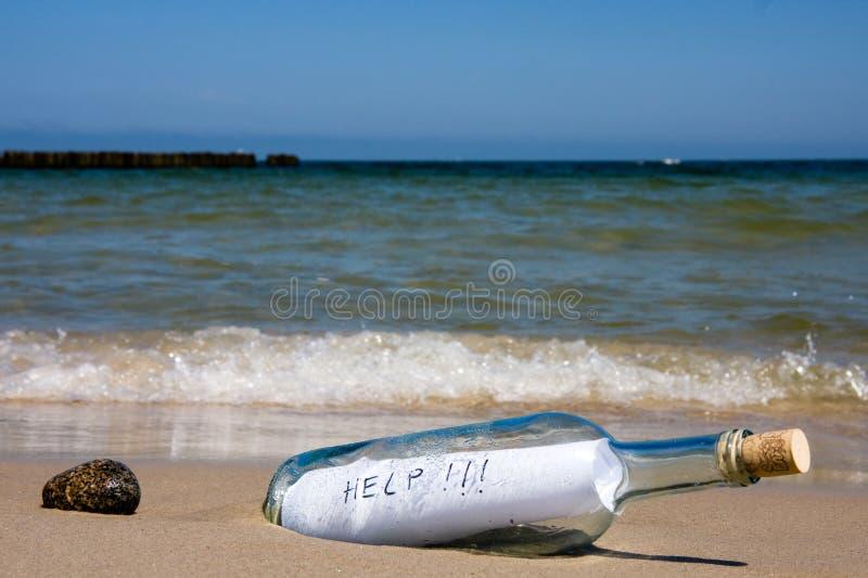 message d'aide de bouteille photos stock