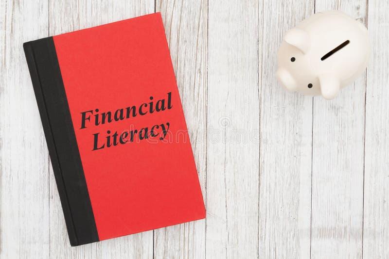 Message d'alphabétisation financière sur un livre avec une tirelire images stock