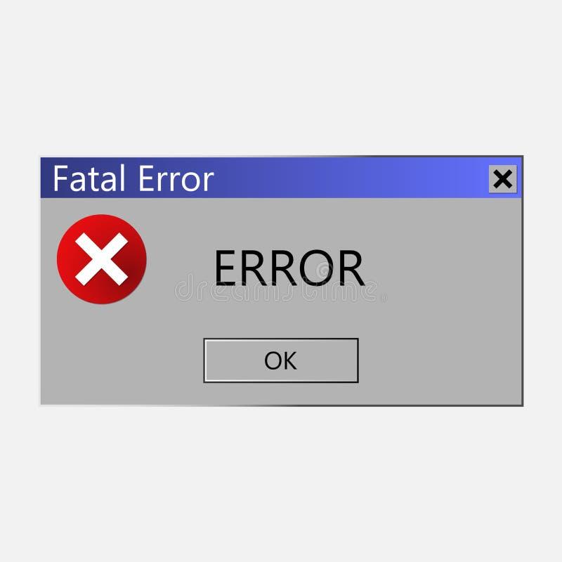 Message d'avertissement au sujet d'une erreur dans le système d'exploitation Vecteur i illustration stock