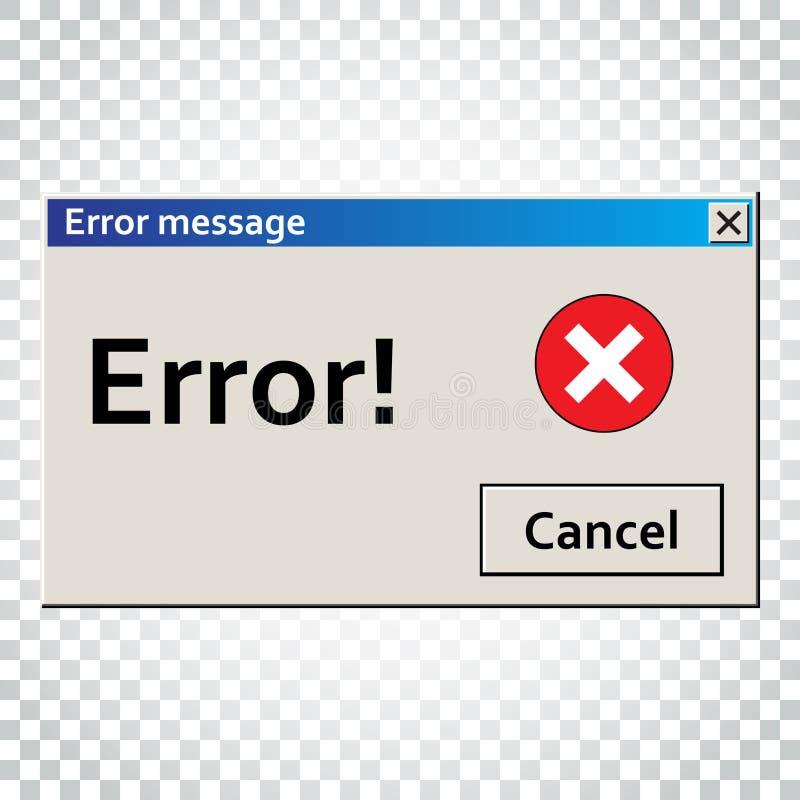 Message d'avertissement d'erreur Fenêtre d'interface utilisateurs Illust vigilant de virus illustration stock