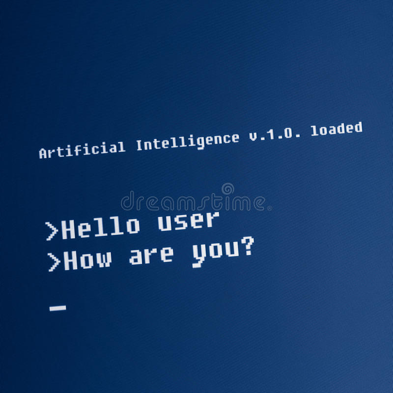 Message d'ordinateur d'intelligence artificielle photos stock