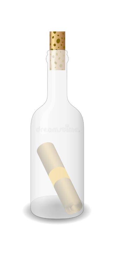 Message dans la bouteille en verre illustration stock