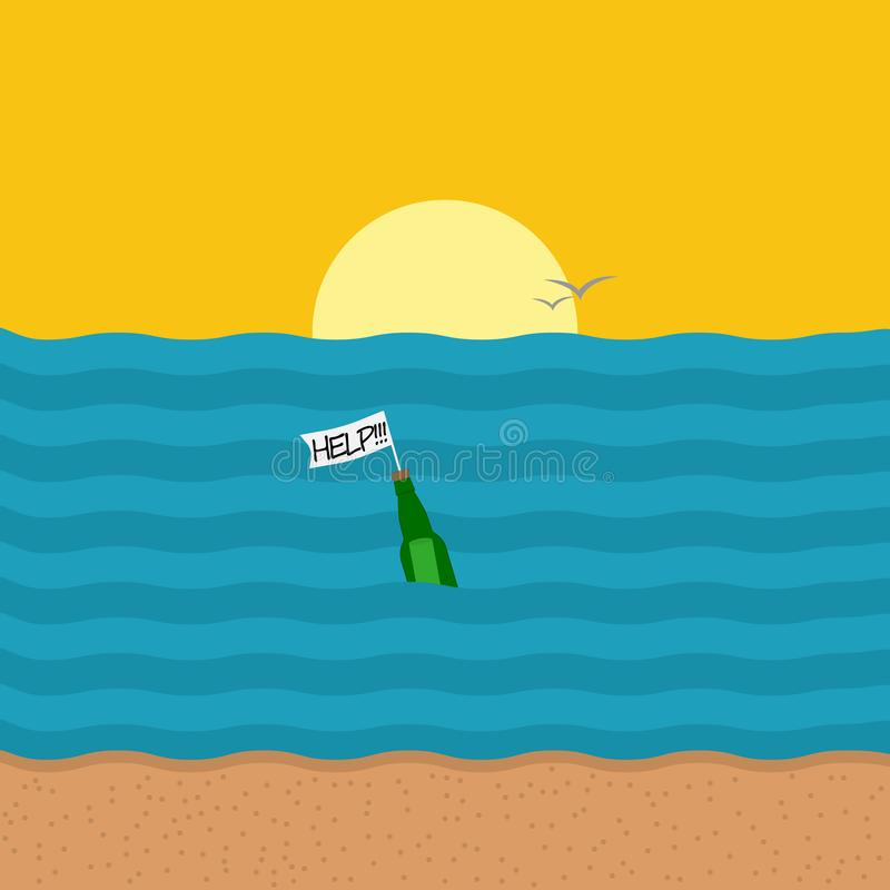 Message dans la bouteille dans le style de bande dessinée Illustration de vecteur illustration stock