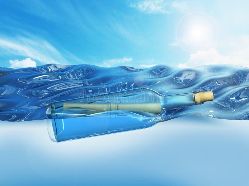 Message dans une bouteille flottant sur le niveau de la mer illustration 3D illustration de vecteur