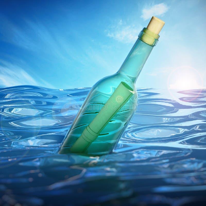 Message dans une bouteille flottant sur le niveau de la mer illustration 3D illustration libre de droits