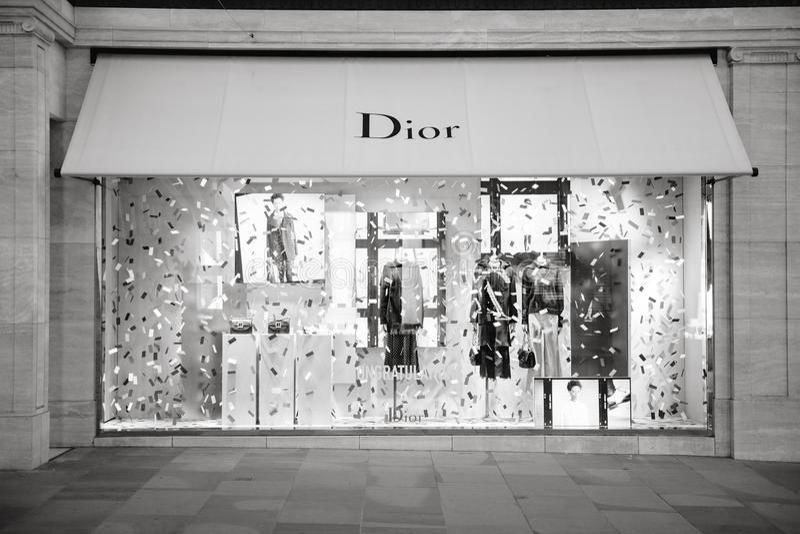 Message de félicitation de boutique de mode de Christian Dior photos stock