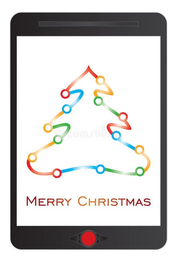 Message de Joyeux Noël sur le comprimé illustration de vecteur