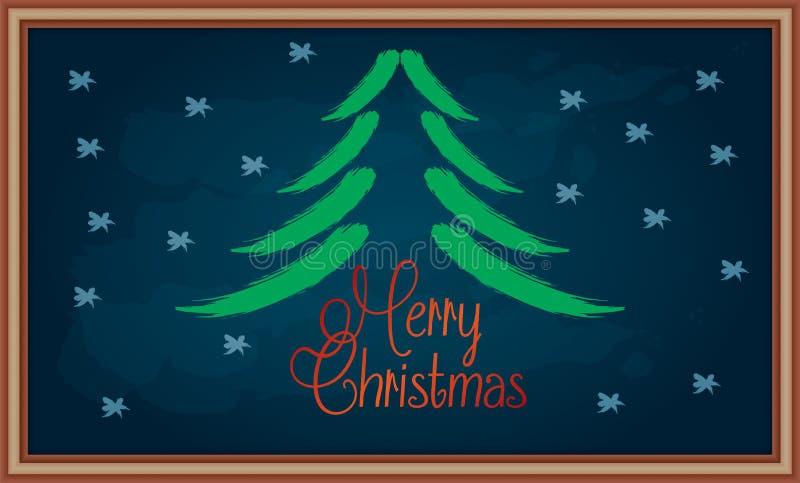 Message de Joyeux Noël sur le tableau illustration de vecteur