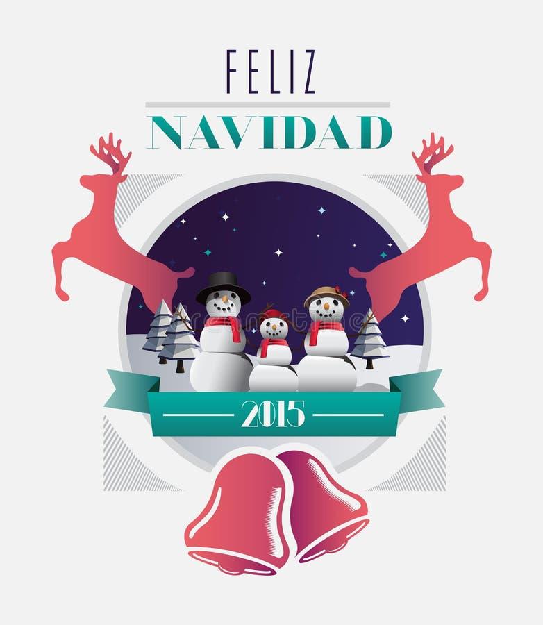 Message de navidad de Feliz avec des illustrations illustration de vecteur