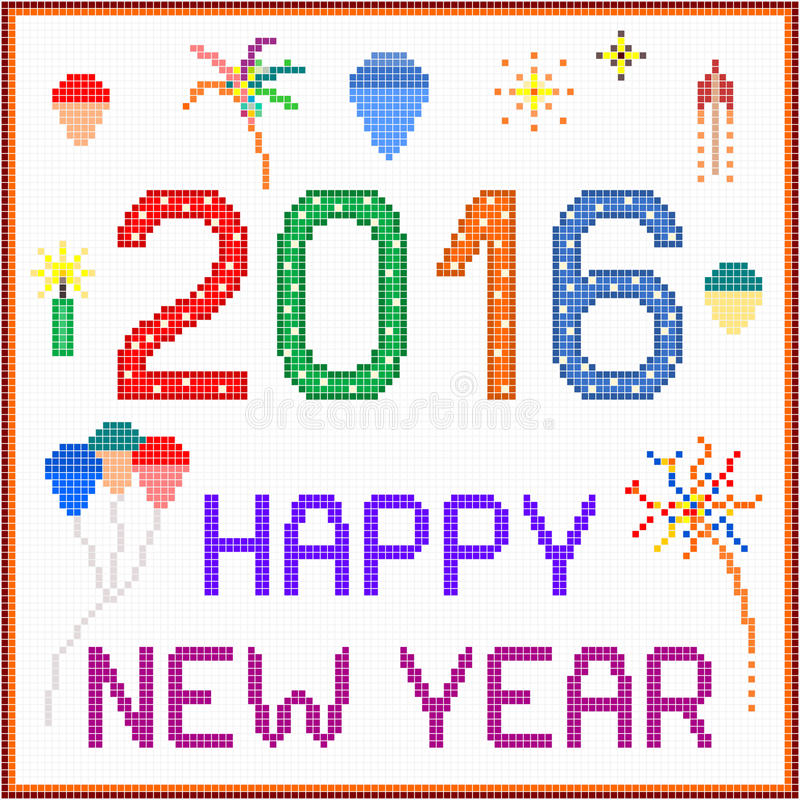 Message 2016 de pixel de nouvelle année illustration stock