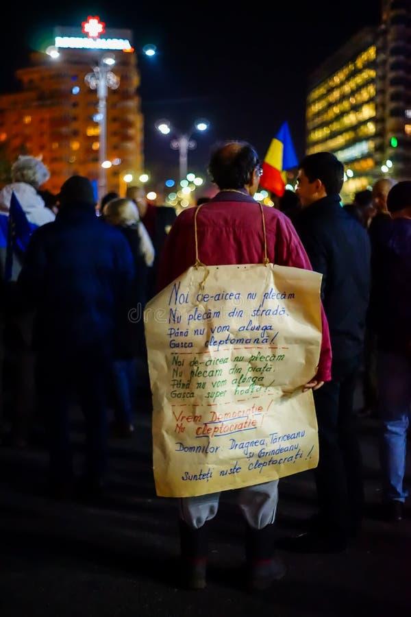 Message de protestataire, Bucarest, Roumanie photographie stock