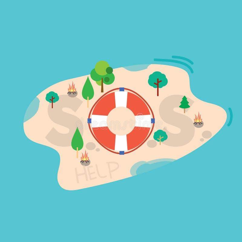 Message de SOS sur l'île de mer illustration de vecteur