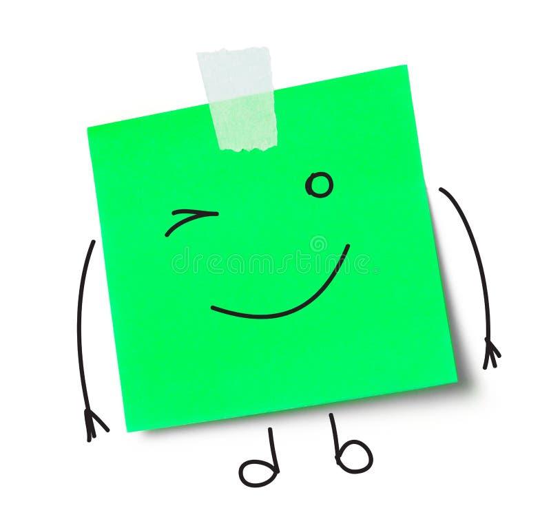 Message de sourire sur la note adhésive images libres de droits