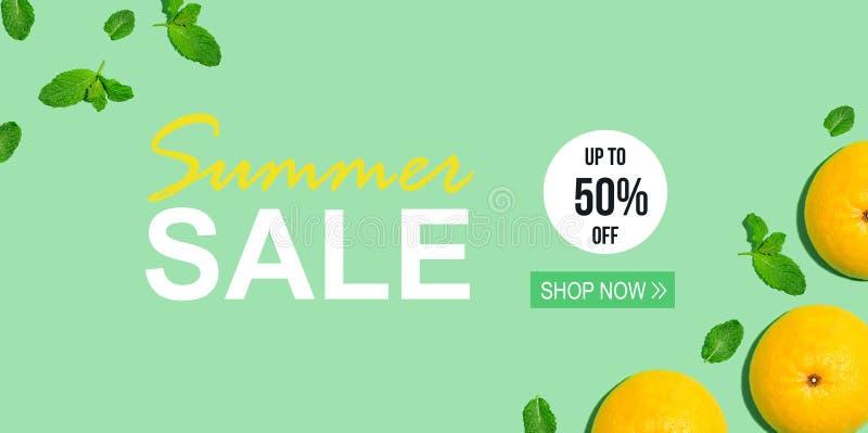 Message de vente d'été avec des pamplemousses illustration stock