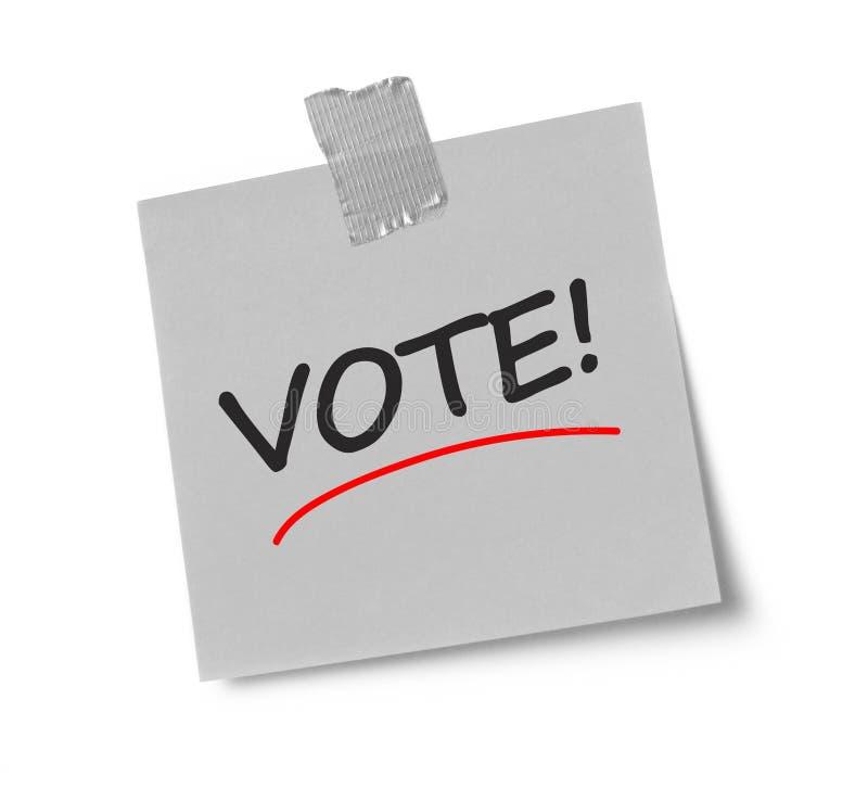 Message de vote sur la note adhésive image libre de droits