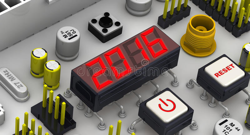 2016. The message on the display electronic circuit board. Red 2016 message on the electronic display of circuit board vector illustration