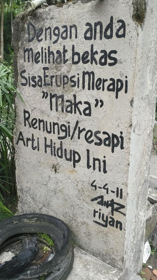 Message du mont Merapi photo libre de droits