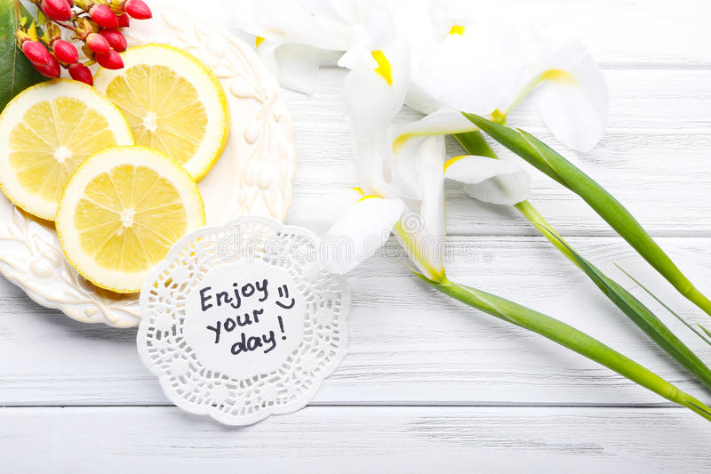 Download Message Enjoy Your Day With Beautiful Flowers And Lemon Slices O  Stock Image   Image