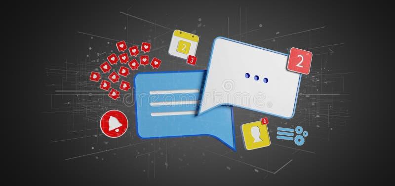 Message et avis du rendu social du media 3d illustration de vecteur