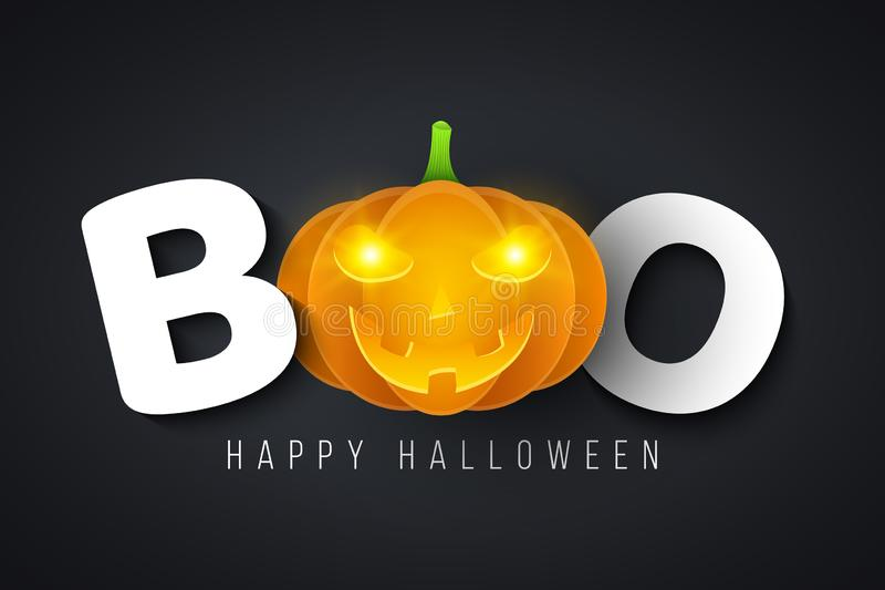 Message for Halloween boo. Festive poster. Glowing yellow eyes. Happy holiday. Cartoon pumpkin with angry smile. Cover for your de royalty free illustration